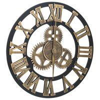 vidaXL Veggklokke gull og svart 45 cm MDF