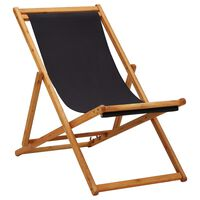 vidaXL Sammenleggbar strandstol eukalyptus og stoff svart