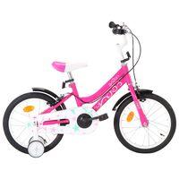 vidaXL Barnesykkel 16 tommer svart og rosa