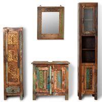 Kabinettskapsett av gjenvunnet tre med 1 speil og 2 sideskap