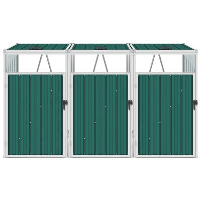 vidaXL Trippelt søppeldunkskur grønn 213x81x121 cm stål