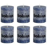 Bolsius Rustikke søylelys 6 stk 80x68 mørkeblå
