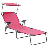 vidaXL Utendørs solseng med solskjerm stål rosa