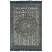 vidaXL Gulvsteppe kilim-vevet bomull med mønster 160x230 cm grå