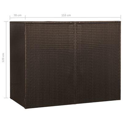 vidaXL Søppeldunkskur dobbel brun 153x78x120 cm polyrotting