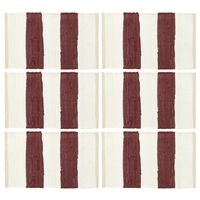 vidaXL Bordmatter 6 stk Chindi stripet burgunder hvit 30x45 cm