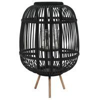 vidaXL Frittstående lanterne for stearinlys bambus svart