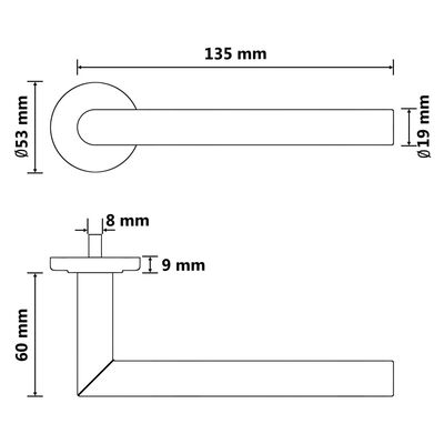 vidaXL Dørhåndtaksett med BB-lås rustfritt stål svart