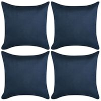 vidaXL Putetrekk 4 stk 40x40 cm Polyester falsk semsket skinn blå