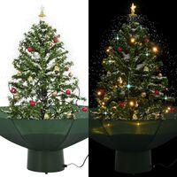 vidaXL Kunstig juletre med snø og paraplybase grønn 75 cm