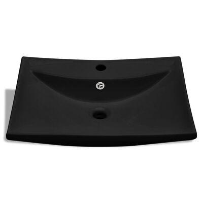 Luksus keramisk servant rektagulær svart med overløp og kranhull