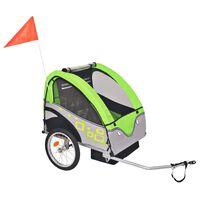 vidaXL Sykkelvogn for barn grå og grønn 30 kg