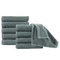 vidaXL Gjestehåndklær 10 stk bomull 450 g/m² 30x50 cm grønn