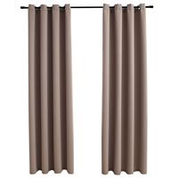 vidaXL Lystette gardiner med metallringer 2 stk gråbrun 140x225 cm