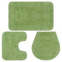 vidaXL Baderomsmattesett 3 stk stoff grønn
