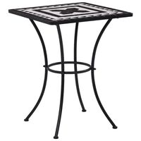 vidaXL Mosaikkbistrobord svart og hvit 60 cm keramikk