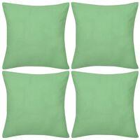 4 Eplegrønne putetrekk, bomull 50 x 50 cm