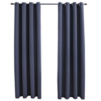 vidaXL Lystette gardiner med metallringer 2 stk antrasitt 140x245 cm
