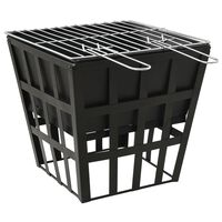 vidaXL 2-i-1 bålfat og grill 34x34x48 cm stål