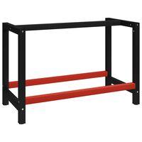 vidaXL Ramme til arbeidsbenk 120x57x79 cm svart og rød