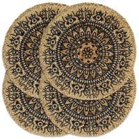 vidaXL Bordmatter 4 stk mørkeblå 38 cm rund jute
