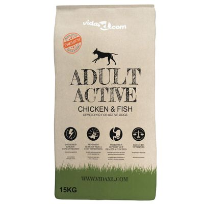vidaXL Premium tørr hundemat Adult Active Chicken & Fish 15 kg