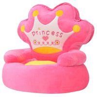 vidaXL Barnestol plysj prinsesse rosa