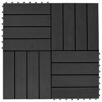 vidaXL Terrassebord 11 stk WPC 30x30 cm 1 kvm svart