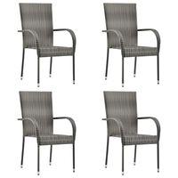 vidaXL Stablestoler 4 stk grå polyrotting