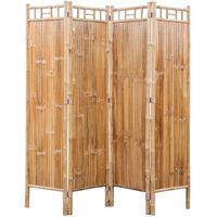vidaXL Romdeler 4-panel bambus