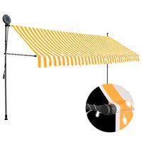 vidaXL Manuell uttrekkbar markise med LED 400 cm hvit og oransje