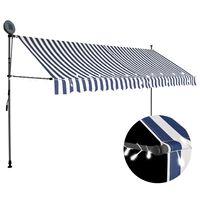 vidaXL Manuell uttrekkbar markise med LED 350 cm blå og hvit