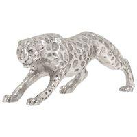 vidaXL Jaguarskulptur solid aluminium 50x10x14 cm sølv