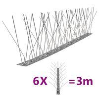 vidaXL Fuglepigger 5-rader 6 stk rustfritt stål 3 m