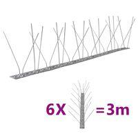 vidaXL Fuglepigger 4-rader 6 stk rustfritt stål 3 m