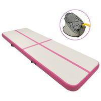 vidaXL Oppblåsbar gymnastikkmatte med pumpe 500x100x15 cm PVC rosa