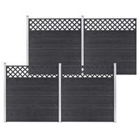 vidaXL Gjerdesett WPC 4 paneler firkantet 699x185 cm grå