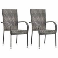 vidaXL Stablestoler 2 stk grå polyrotting