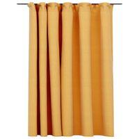 vidaXL Lystett gardin med kroker og lin-design gul 290x245 cm