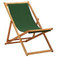 vidaXL Sammenleggbar strandstol eukalyptus og stoff grønn