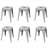 vidaXL Stablekrakker 6 stk grå stål