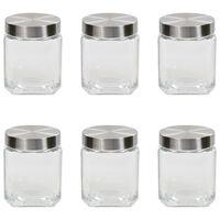 vidaXL Oppbevaringskrukker med sølvt lokk 6 stk 1200 ml