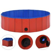 vidaXL Sammenleggbart hundebasseng rød 120x30 cm PVC