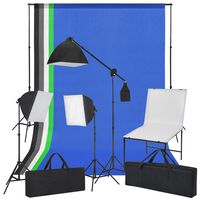 vidaXL Fotostudiosett med fotobord, lys og bakgrunner