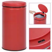 vidaXL Automatisk søppelbøtte med sensor 60 L karbonstål rød