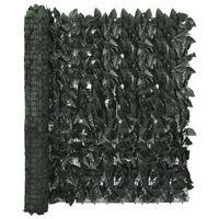 vidaXL Balkongskjerm med mørkegrønne blader 400x100 cm