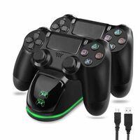 Dobbel ladestasjon for to PS4 / PS4 Slim / PS4 Pro-kontroller
