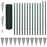 vidaXL Euro gjerde stål 25x1,7 m grønn