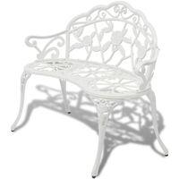 vidaXL Hagebenk 100 cm støpt aluminium hvit