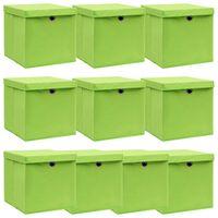 vidaXL Oppbevaringsbokser med lokk 10 stk grønn 32x32x32 cm stoff